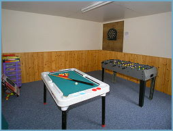 the games room in building outside the holiday cottage